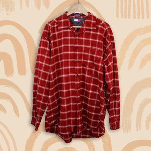 Tommy Hilfiger Plaid Red Oversized Flannel XL Fall